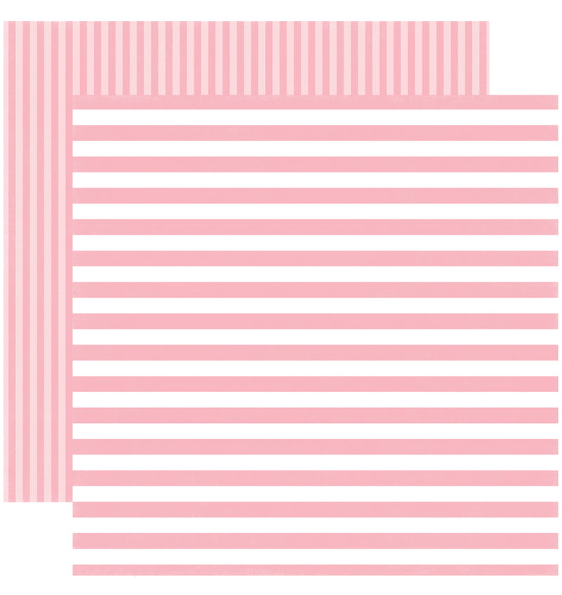 Echo Park Paper Spring Dots and Stripes 6 x 6 Paper Pad, Pink Flamingo Stripes Double-Sided Patterned Paper