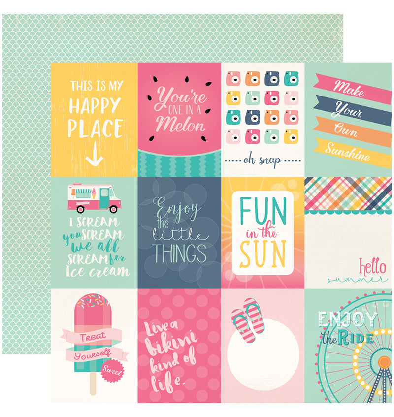 Echo Park Summer Dreams Collection Kit, 3x4 Journaling Cards 12x12 Paper