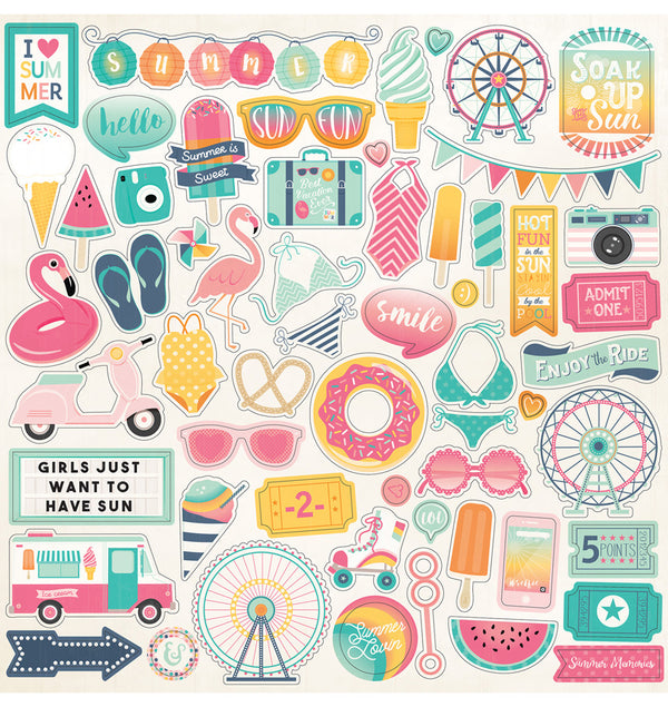 Echo Park Summer Dreams Collection Kit, 12x12 Element Sticker Sheet
