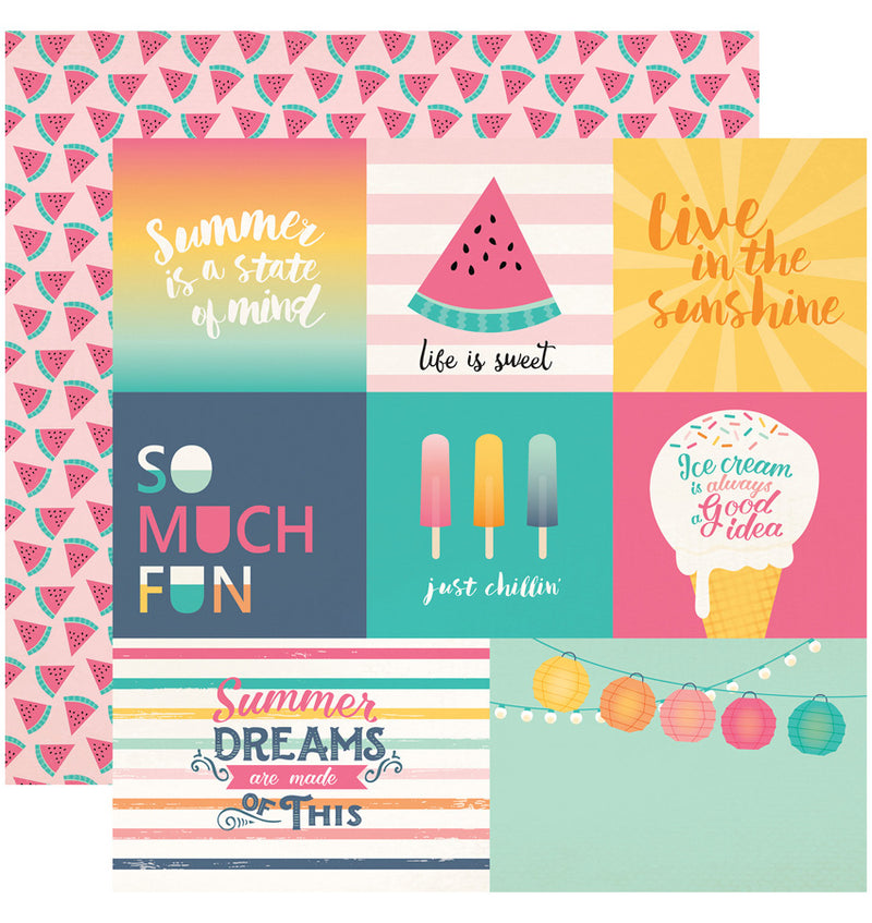 Echo Park Summer Dreams Collection Kit, Multi-Journaling Cards 12x12 Paper