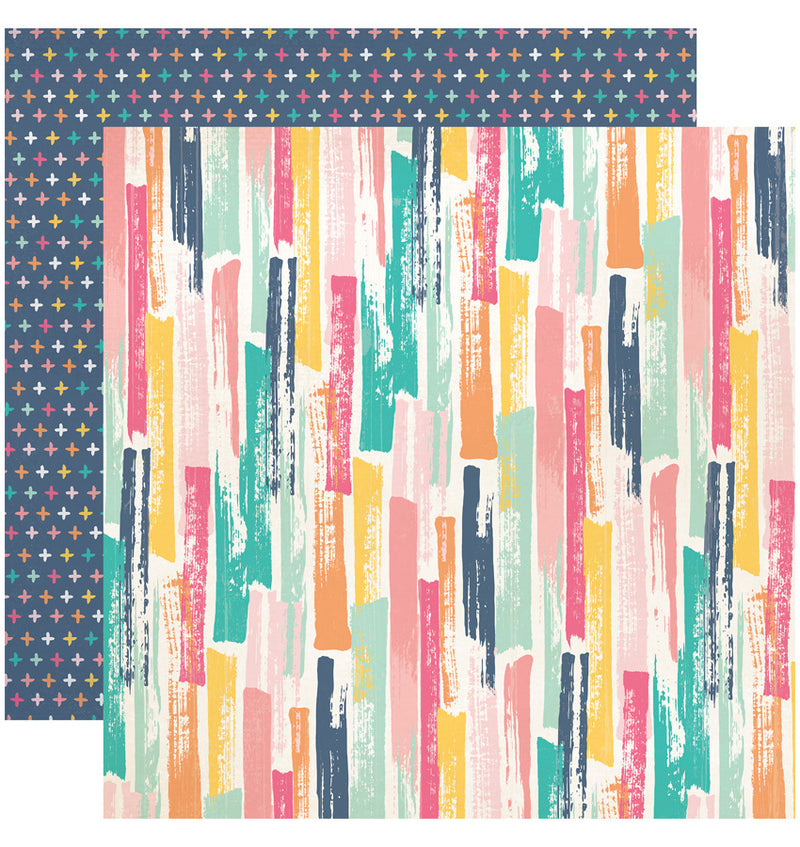 Echo Park Summer Dreams Collection Kit, Painted Stripes 12x12 Paper