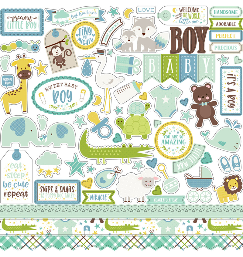 Echo Park Sweet Baby Boy Collection Kit, 12x12 Element Sticker Sheet