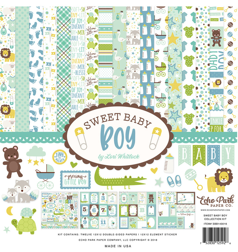 Echo Park Sweet Baby Boy Collection Kit, 12x12 Paper & Sticker Sheet