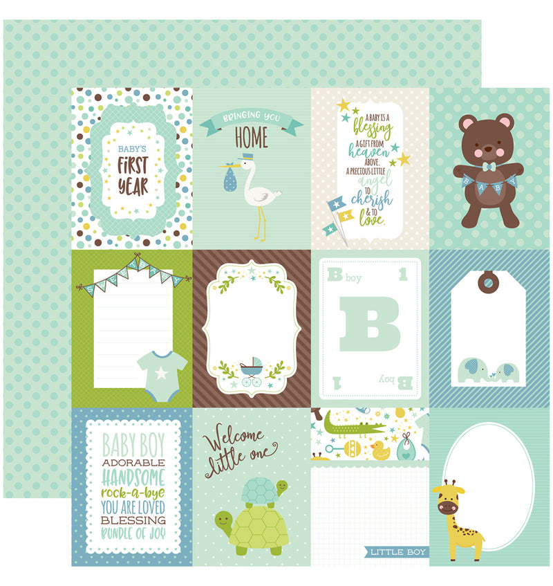 Echo Park Sweet Baby Boy Collection Kit, 3x4 Journaling Cards 12x12 Paper