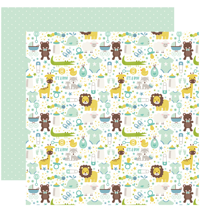 Echo Park Sweet Baby Boy Collection Kit, It's A Boy 12x12 Paper