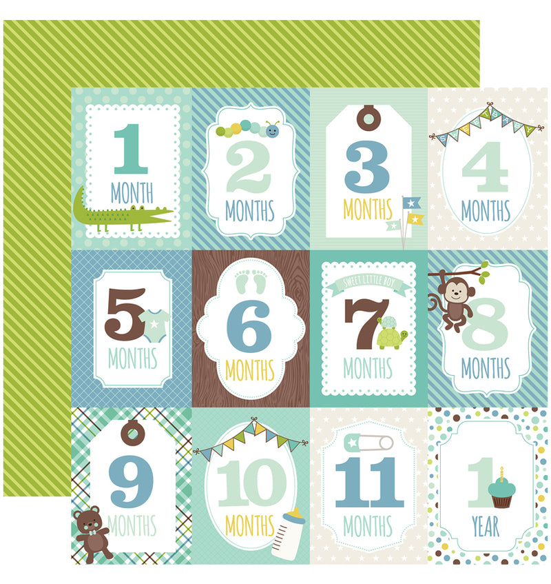 Echo Park Sweet Baby Boy Collection Kit, Month Cards 12x12 Paper