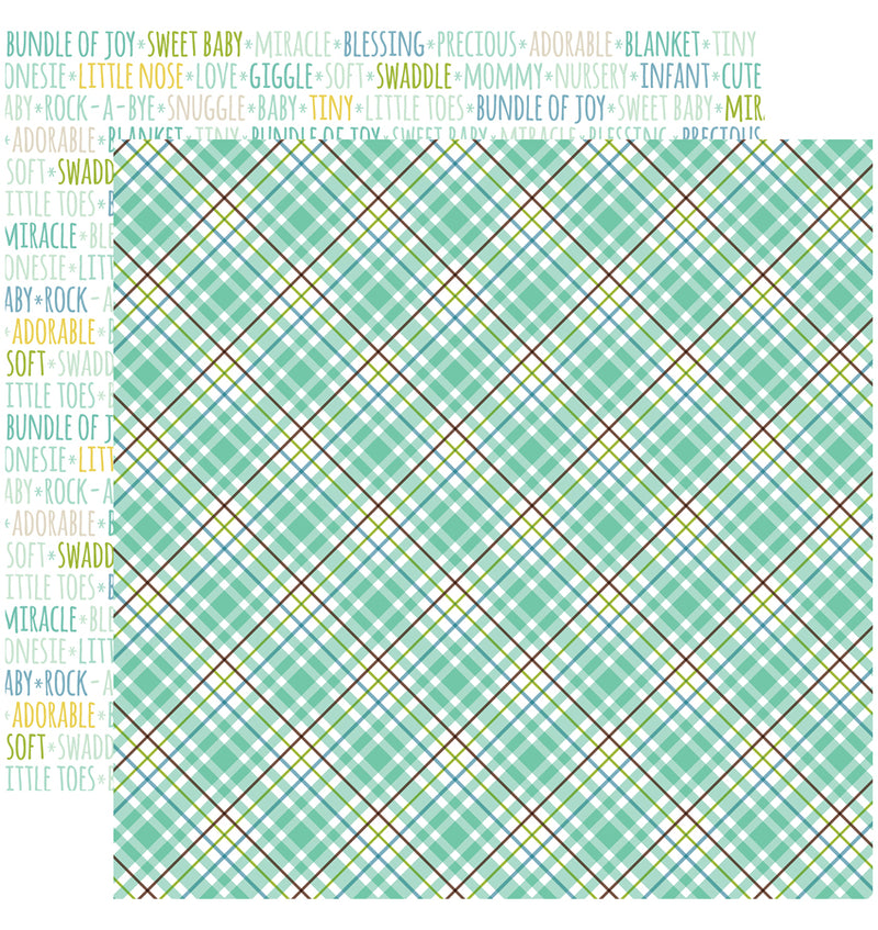 Echo Park Sweet Baby Boy Collection Kit, Sweet Boy Plaid 12x12 Paper