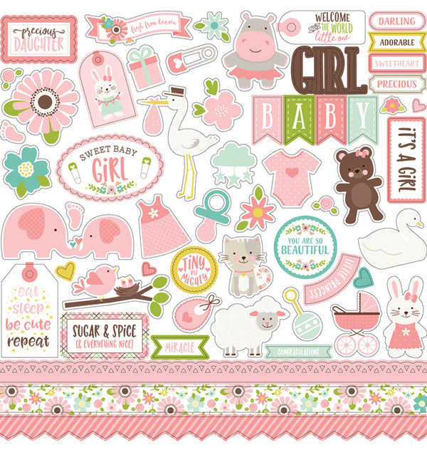 Echo Park Sweet Baby Girl Collection Kit, 12x12 Element Sticker Sheet