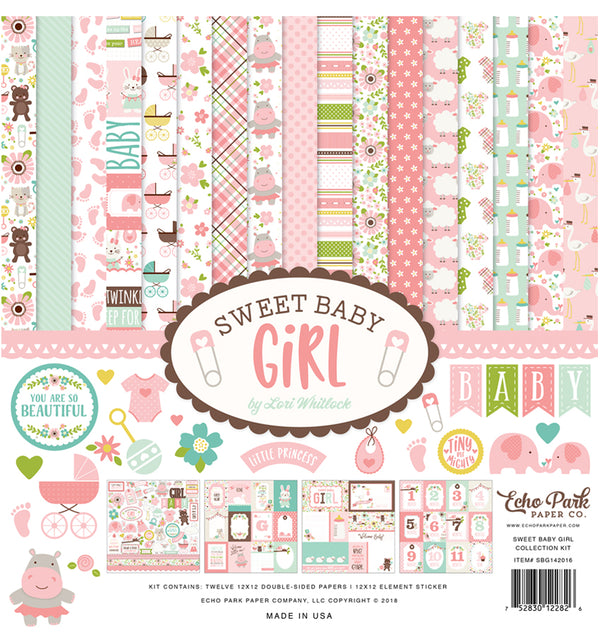 Echo Park Sweet Baby Girl Collection Kit, 12x12 Paper & Sticker Sheet