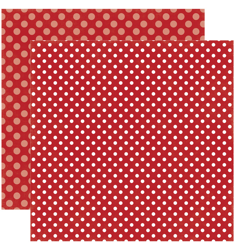 Echo Park Paper Valentine Dots and Stripes 6 x 6 Paper Pad, Strawberry Swirl Dots Double-Sided Patterned Paper