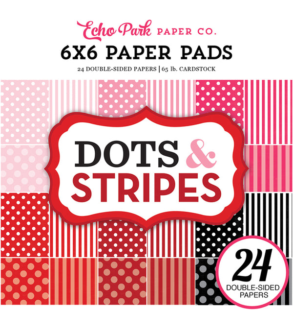 Echo Park Paper Valentine Dots and Stripes 6 x 6 Paper Pad Cover Design