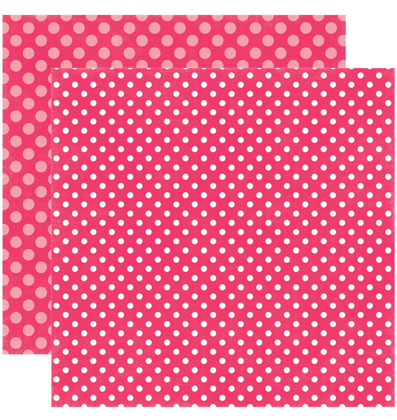 Echo Park Paper Valentine Dots and Stripes 6 x 6 Paper Pad, Pink Punch Dots Double-Sided Patterned Paper