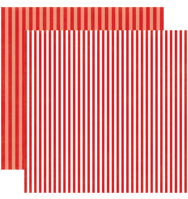 Echo Park Paper Valentine Dots and Stripes 6 x 6 Paper Pad, Cherry Berry Stripes Double-Sided Patterned Paper