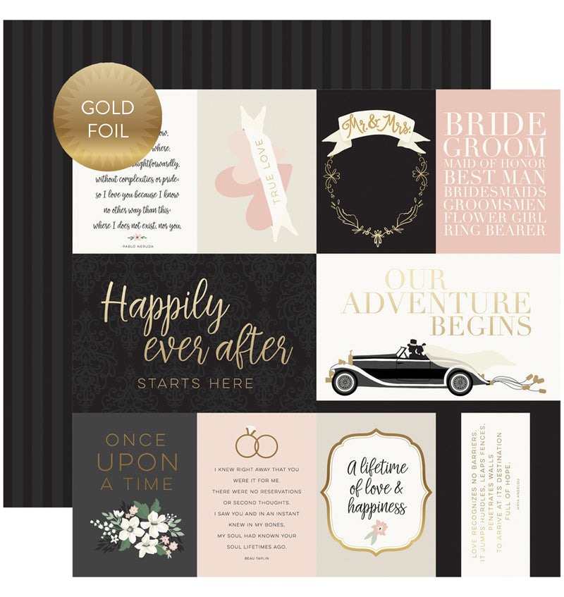 Wedding Day Collection Kit with Foil Accents, 12x12 Journaling Cards Gold Foiled Cardstock Paper