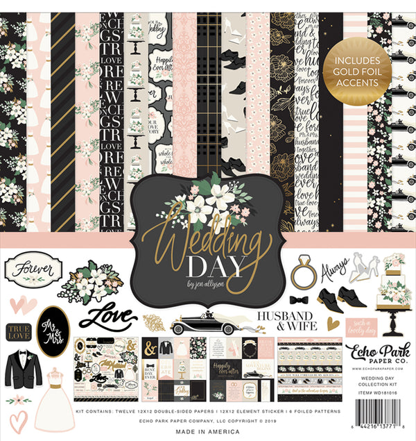 Wedding Day Collection Kit with Foil Accents, 12x12 Cardstock Paper and Sticker Sheet
