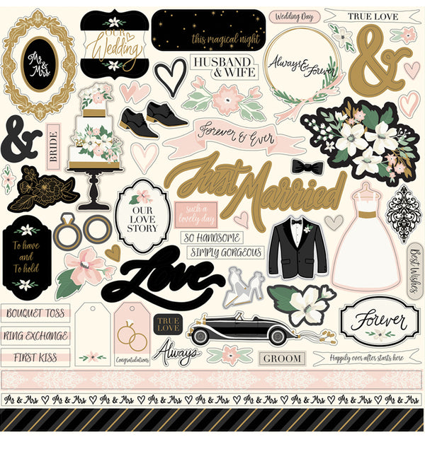 Wedding Day Collection Kit with Foil Accents, 12x12 Sticker Sheet