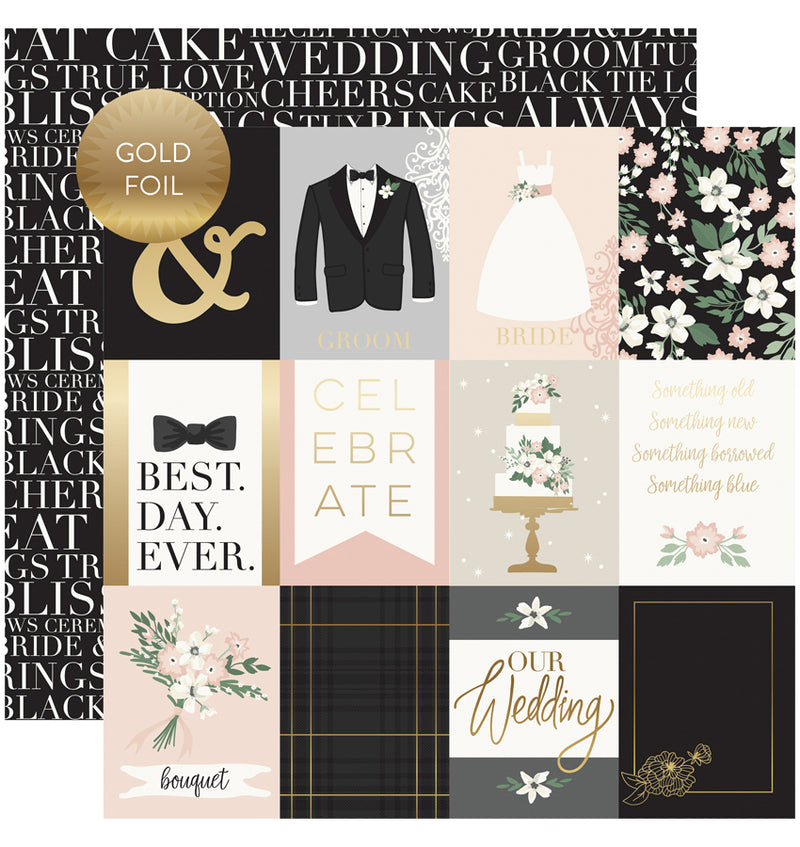 Wedding Day Collection Kit with Foil Accents, 3x4 Journaling Cards Gold Foiled Cardstock Paper