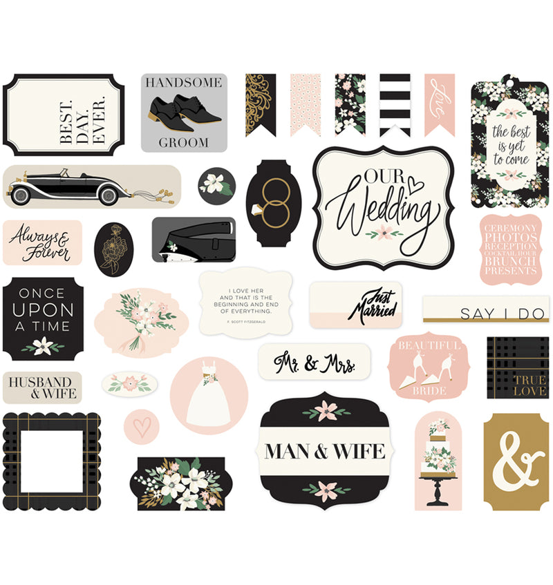 Echo Park Wedding Day Ephemera 33pcs Designs