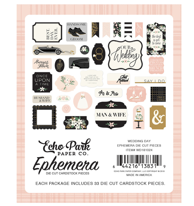 Echo Park Wedding Day Ephemera 33pcs Back