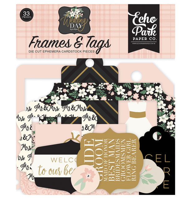 Echo Park Wedding Day Frames & Tags 33pcs