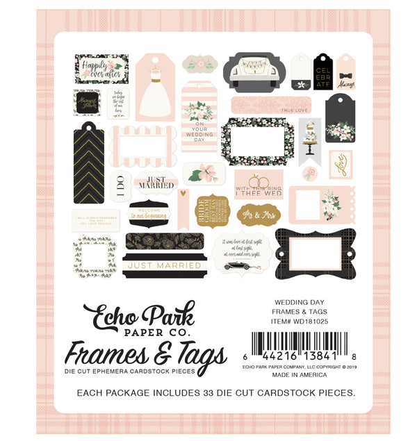 Echo Park Wedding Day Frames & Tags 33pcs Back