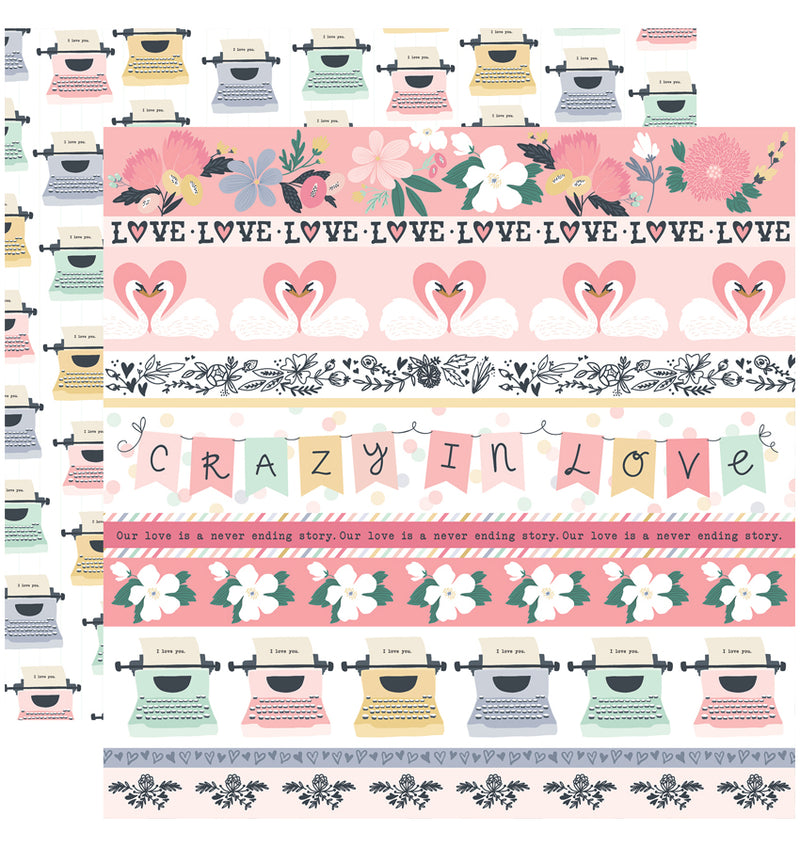 Echo Park You & Me Valentine Collection Kit, Border Strips 12x12 Paper