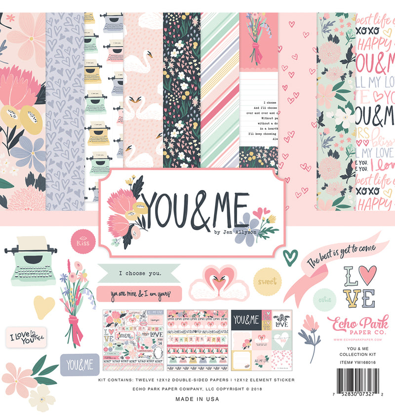 Echo Park You & Me Valentine Collection Kit, 12x12 Cardstock Paper and Sticker Sheet