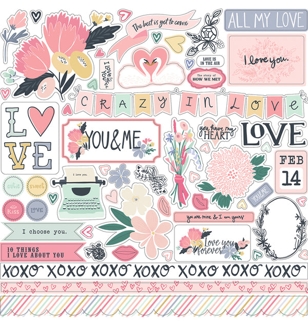 Echo Park You & Me Valentine Collection Kit, Element Sticker 12x12 Sheet