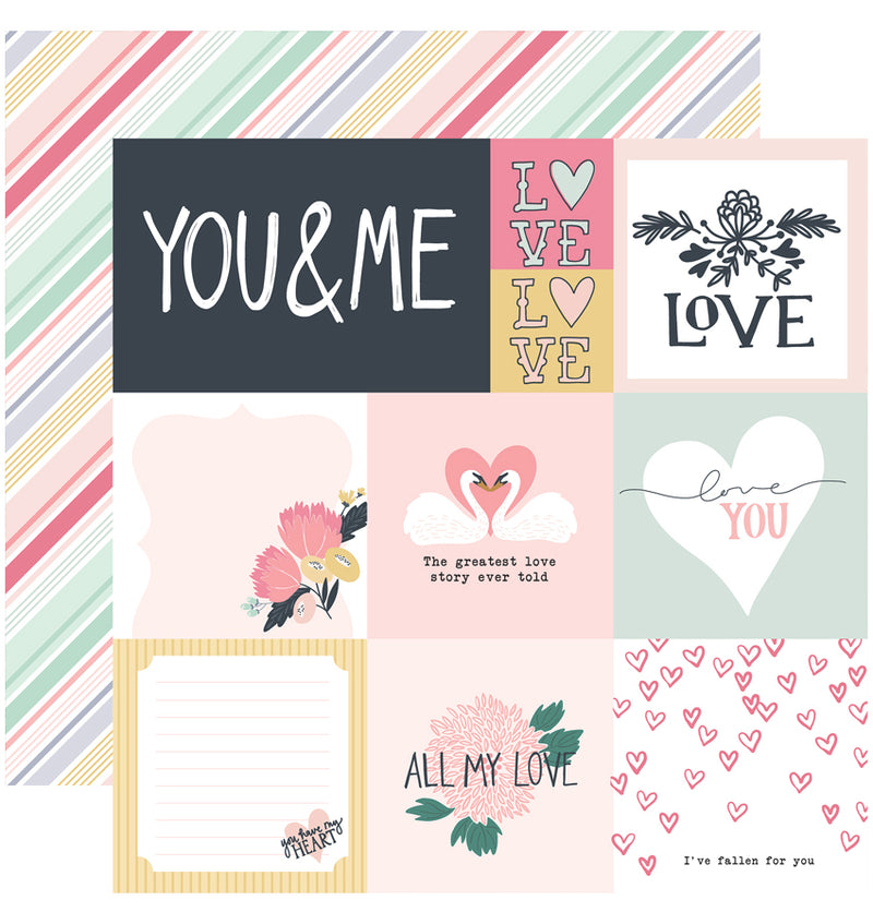 Echo Park You & Me Valentine Collection Kit, Multi Journaling Cards 12x12 Paper