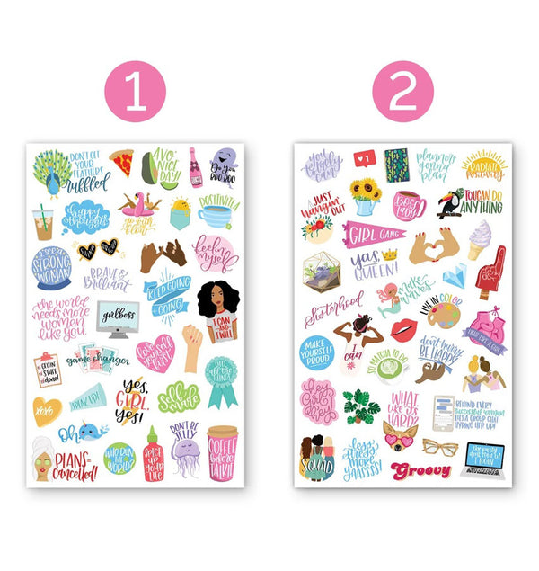 Female Empowerment Planner Sticker Sheets 6pcs Design One and Two Sheets