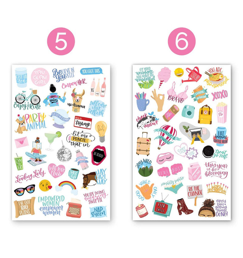 Female Empowerment Planner Sticker Sheets 6pcs Design Fifth and Six Sheets