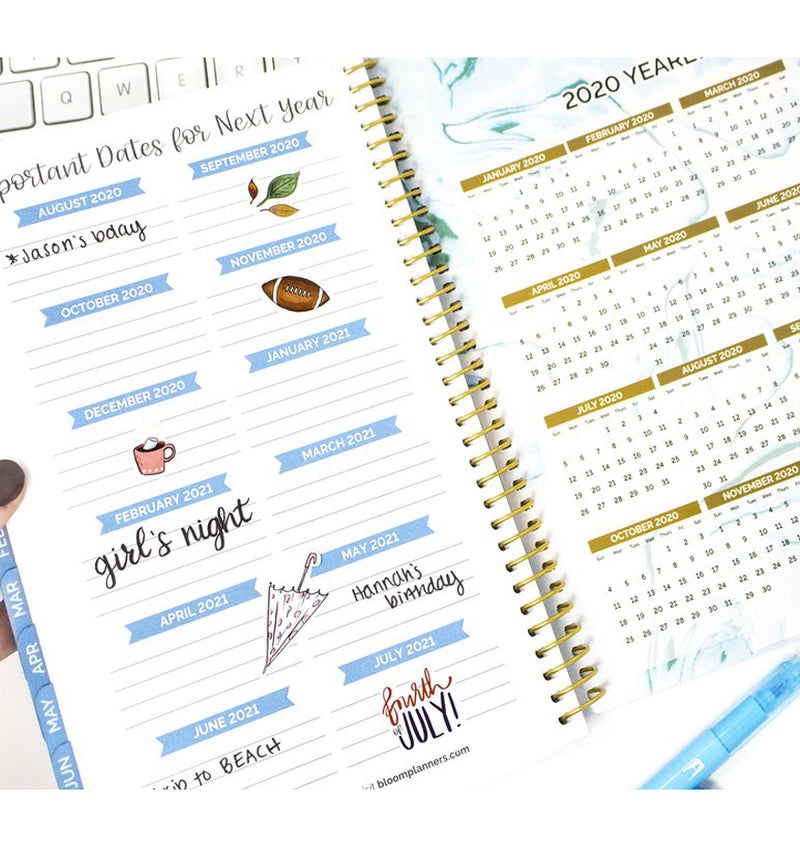 Geode 2019-2020 Bloom Soft Cover Daily Planner Important Dates