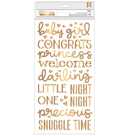 American Crafts Baby Girl Gold Foil Foam Thickers