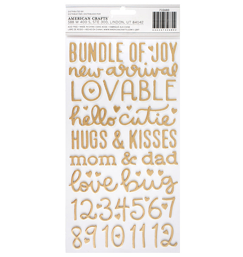 American Crafts Baby Girl Gold Foil Foam Thickers Back