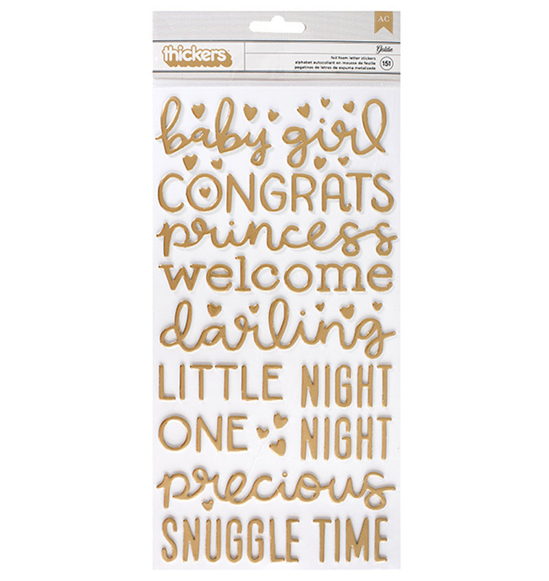 American Crafts Baby Girl Gold Foil Foam Thickers Front