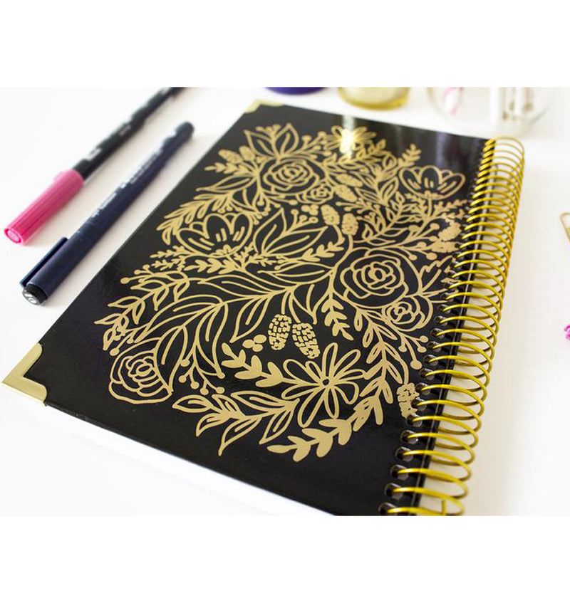 Gold Embroidery Floral 2019 Hard Cover Daily Planner