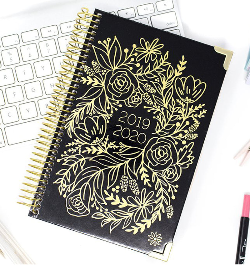 Gold Embroidery 2019-2020 Bloom Hard Cover Daily Planner Cover
