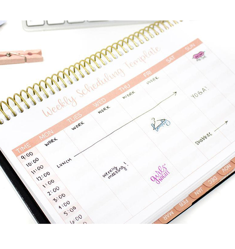 Gold Embroidery 2019-2020 Bloom Hard Cover Daily Planner Weekly Scheduling Template