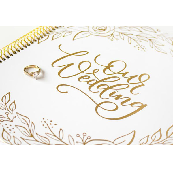 Bloom's Gold Floral Hardcover Wedding Planner and Calendar Front Cover Close Up