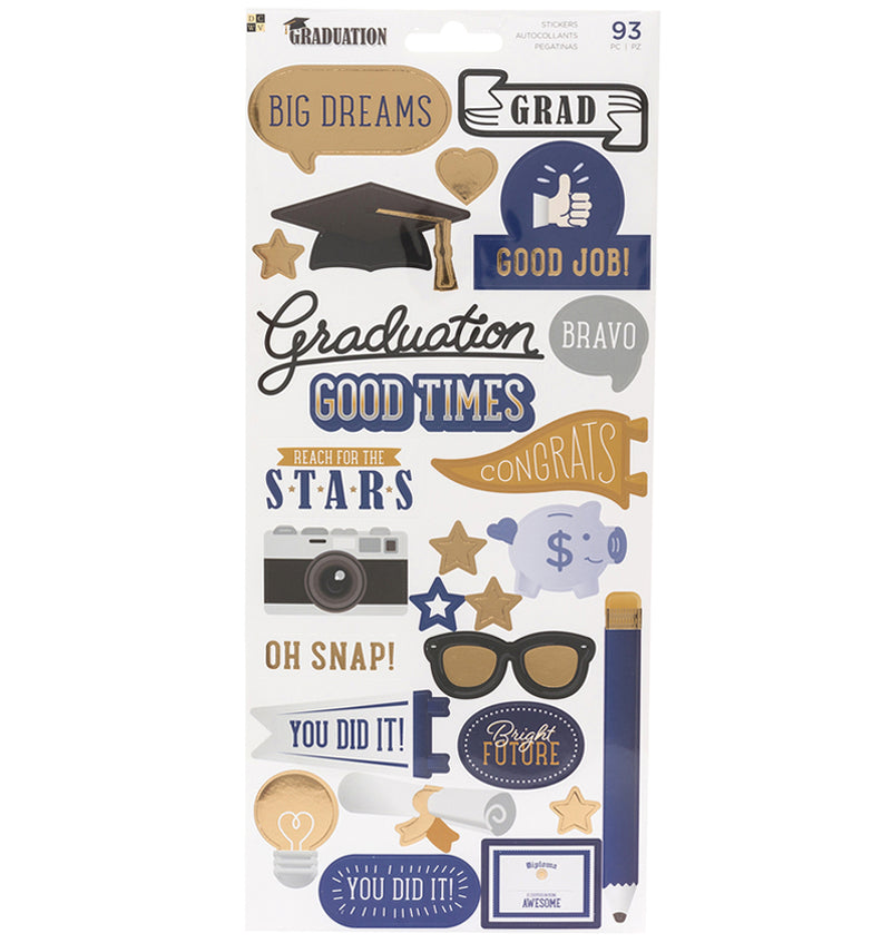 DCWV Graduation Foil Accents Stickers