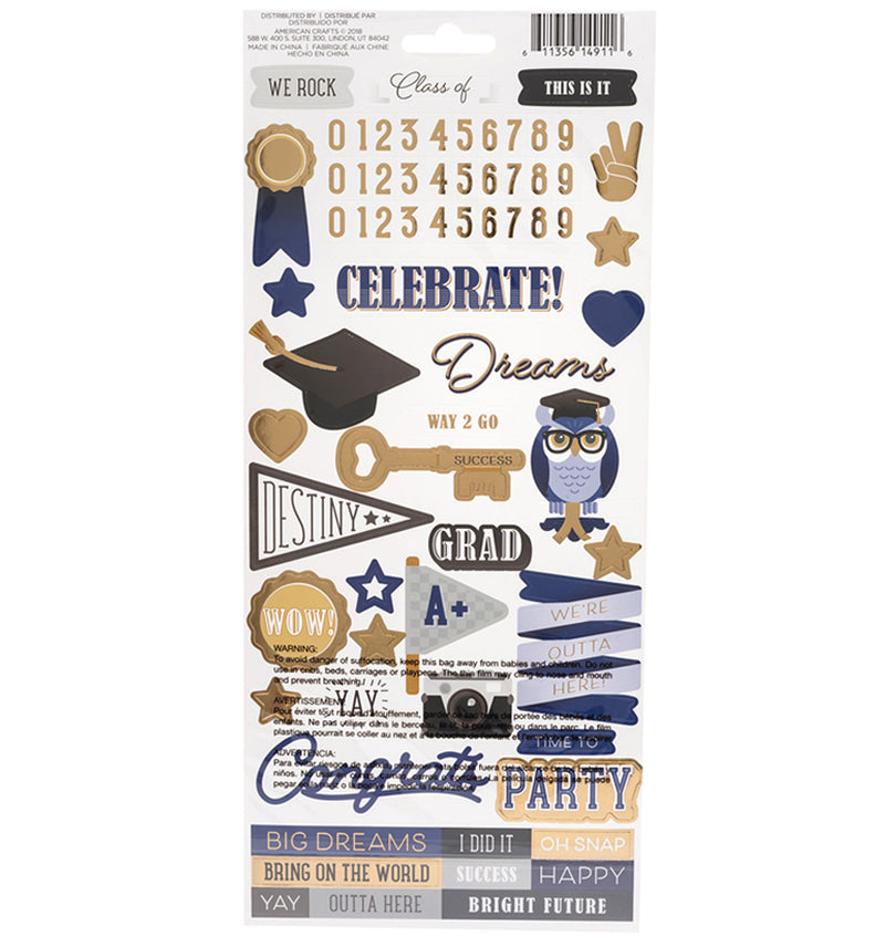 DCWV Graduation Foil Accents Stickers Back