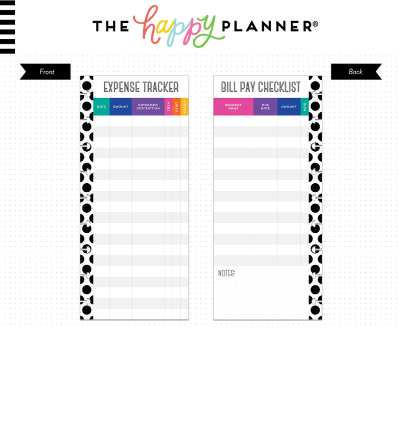 Half Sheet Budget Tracker (Classic Happy Planner) Page Layout