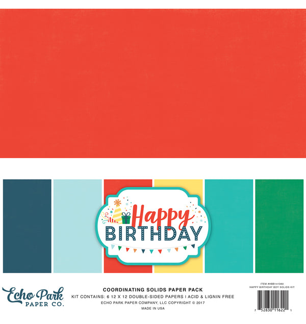 Echo Park Happy Birthday Boy 12x12 Solid Paper Pack Cover