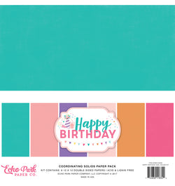 Echo Park Happy Birthday Girl Solid Kit 12x12 Cardstock Paper Cover