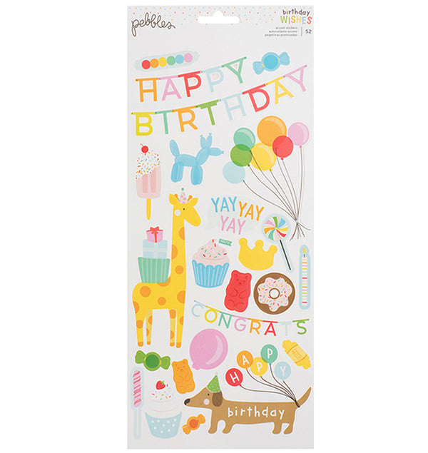 Pebbles Happy Hooray Birthday Wishes Stickers