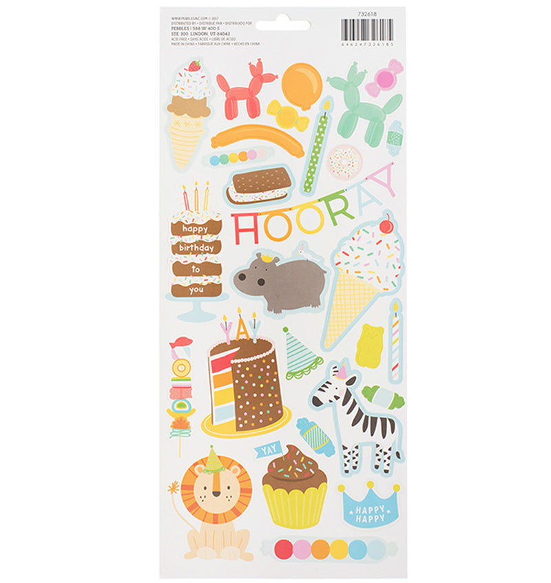 Pebbles Happy Hooray Birthday Wishes Stickers Back