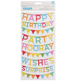 Happy Hooray Phrase Chipboard Thickers