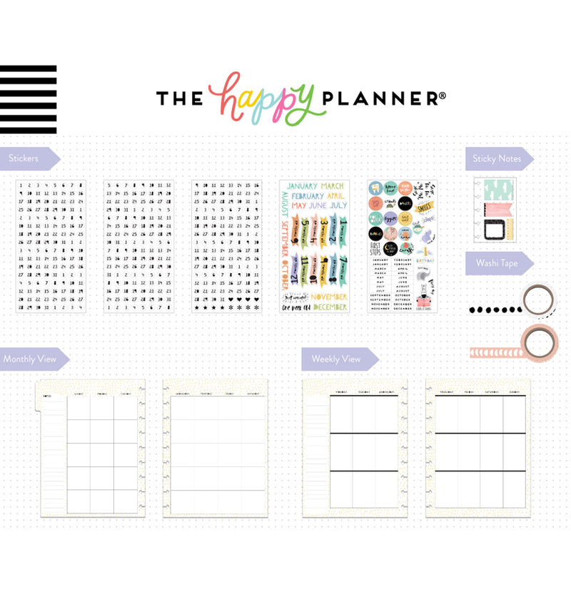 Happy Planner Baby Girl 12 Month Box Kit Undated Page Layouts & Stickers