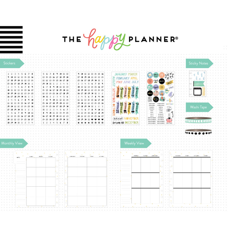 Happy Planner Baby Boy 12 Month Box Kit Undated Page Layouts & Stickers