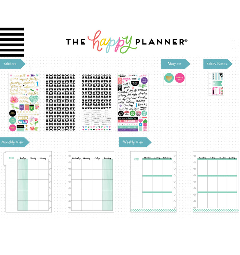 Best Year Ever 12 Month Happy Planner Box Kit Undated Page Layouts & Stickers